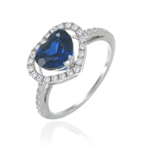 Heart Shaped Blue Sapphire Ring