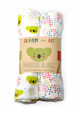 Oliver + Kit | Signature| 2 Count Muslin Swaddle Blanket Duo | Green Koalas Print Red Blue and Green Plus Sign Print