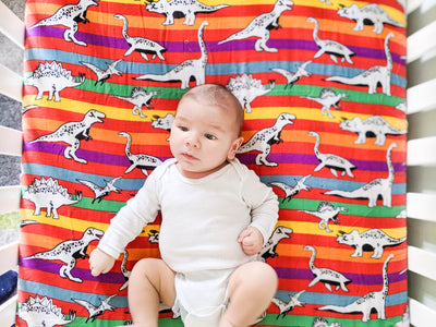 Dino-Stripe | Bamboo Blend Crib Sheet - Oliver + Kit
