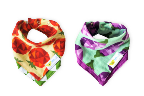 Veggie Might | Cotton Kerchief Bibs | 2 Pack