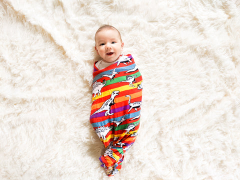 Dino-Stripe | Bamboo Blend Single Swaddle - Oliver + Kit