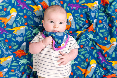 Rainbow Dinos Bamboo Cotton Blend Luxury Muslin Swaddle Blanket - Oliver + Kit