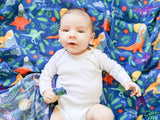 Rainbow Dinos Bamboo Cotton Blend Luxury Muslin Swaddle Blanket