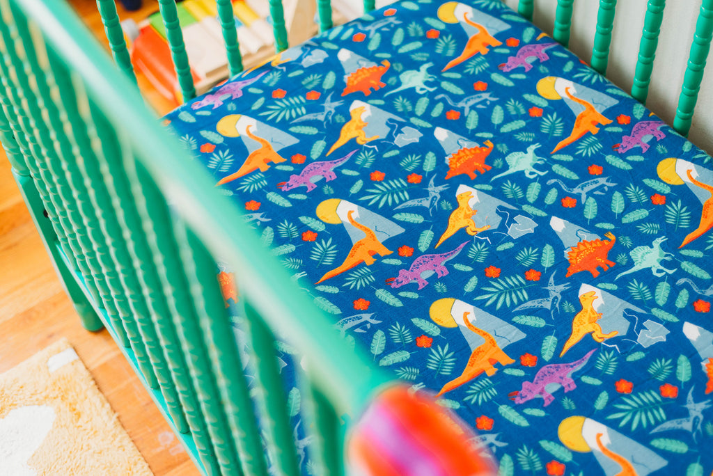 Rainbow Dinos | Bamboo Blend Crib Sheet