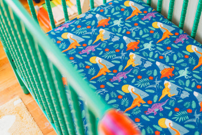 Rainbow Dinos | Bamboo Blend Crib Sheet - Oliver + Kit