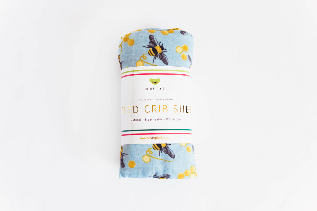 Save the Bees | Cotton Crib Sheet - Oliver + Kit