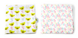 Oliver + Kit | Signature| 2 Count Muslin Swaddle Blanket Duo | Green Koala Print Red Blue and Green Plus Sign Print