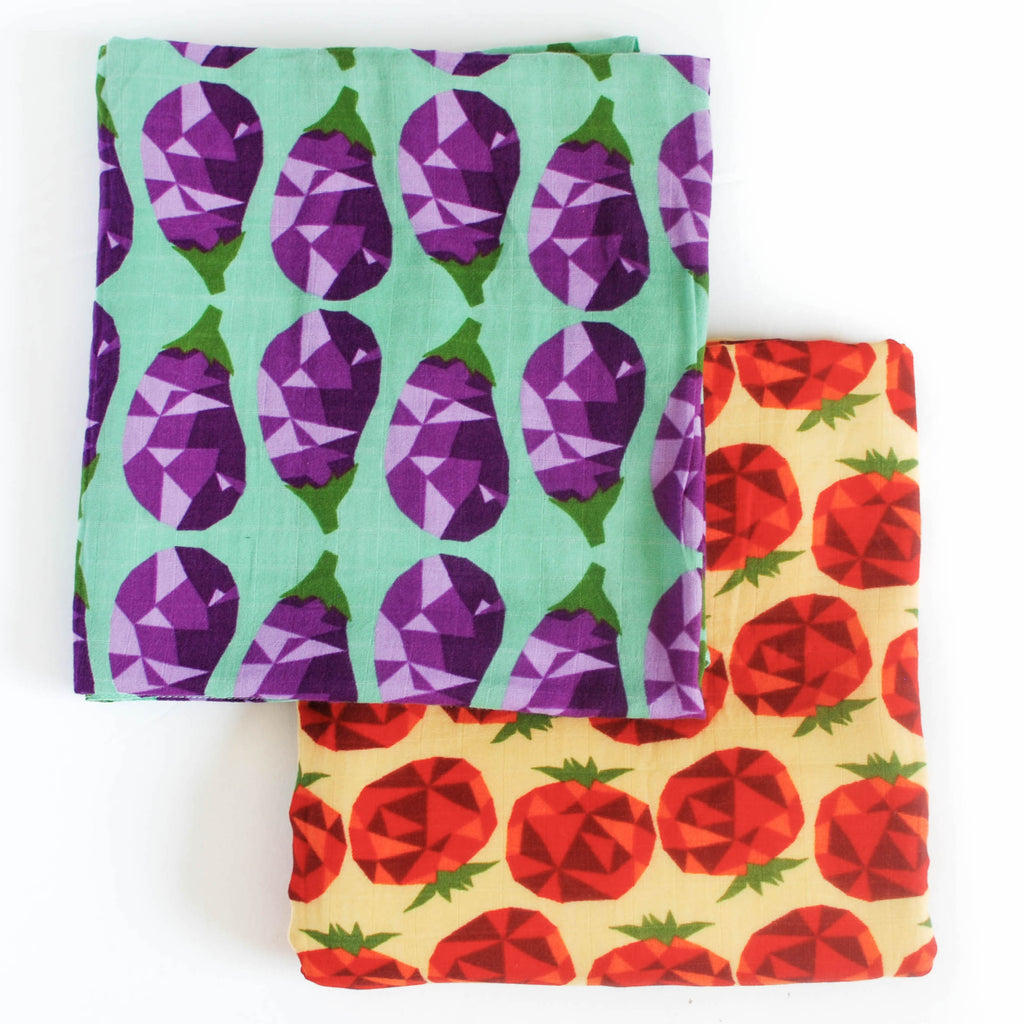 Veggie Might | Cotton Swaddle Duo - Oliver + Kit