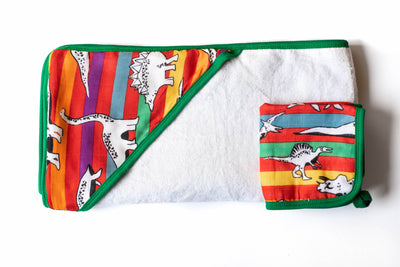 Dino-Stripe | Baby-Big Kid Towel + Washcloth Set - Oliver + Kit