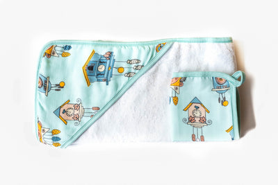 Cuckoo Time | Baby-Big Kid Towel + Washcloth Set - Oliver + Kit