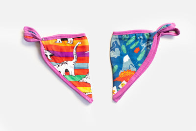 Rainbow-Saurus | Bamboo Blend Kerchief Bibs | 2-Pack - Oliver + Kit