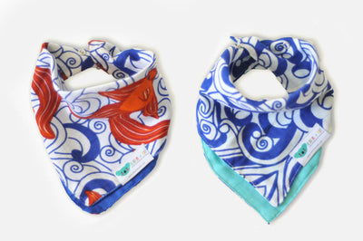 Go Fish | Bamboo Blend Kerchief Bibs | 2-Pack - Oliver + Kit