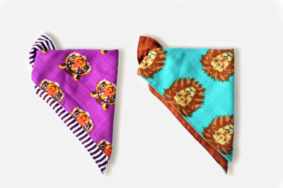 Roar | Cotton Kerchief Bibs | 2 Pack - Oliver + Kit