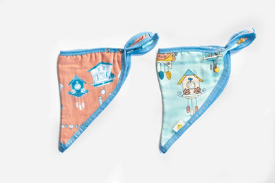 Cuckoo For You | Bamboo Blend Kerchief Bibs | 2-Pack - Oliver + Kit