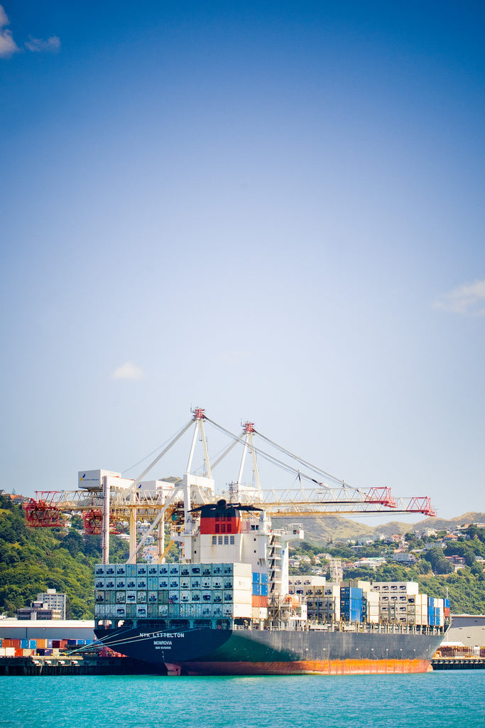 Container ship docked at Wellington port
