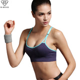 B.BANG Sexy Women Push Up Bra Running Sports Shirts for Yoga Gym Fitness Patchwork Tops For Girls and Woman Adjustable Strap Bra