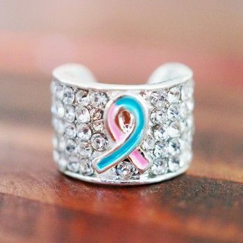 Stethoscope Charm Infant Loss Awareness Ribbon Pink and Blue