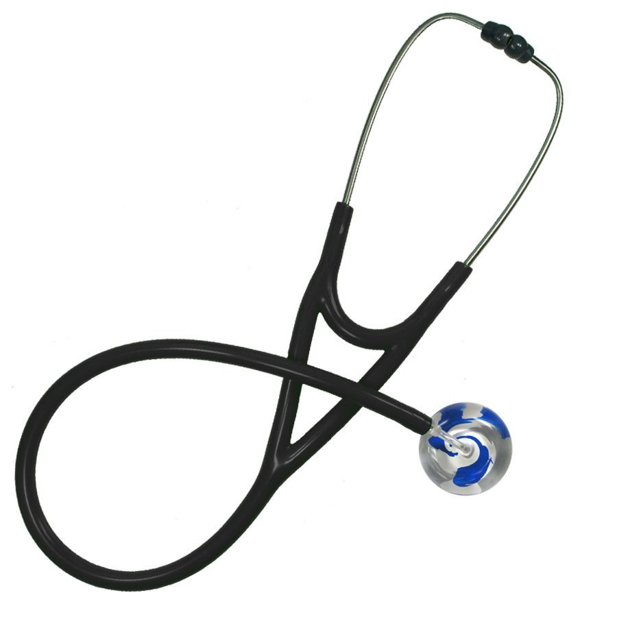 UltraScope Cardiology Stethoscope Color Me Swirled Royal Blue & White