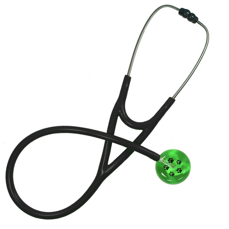 UltraScope Cardiology Stethoscope Paw Prints Light Green