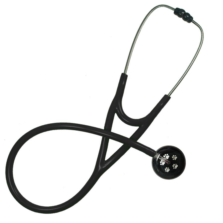 UltraScope Cardiology Stethoscope Paw Prints Black