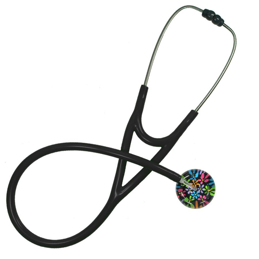 UltraScope Cardiology Stethoscope Flower Power Black