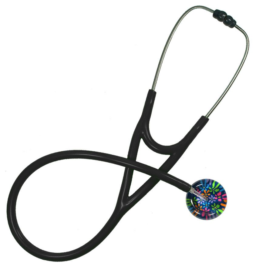 UltraScope Cardiology Stethoscope Flower Power Navy Blue