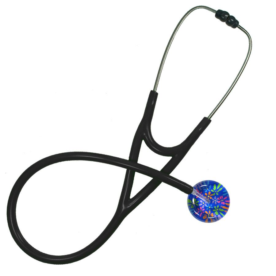 UltraScope Cardiology Stethoscope Flower Power Royal Blue