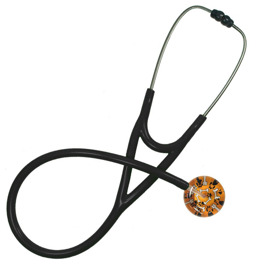 UltraScope Cardiology Stethoscope Bones & Paw Prints Orange
