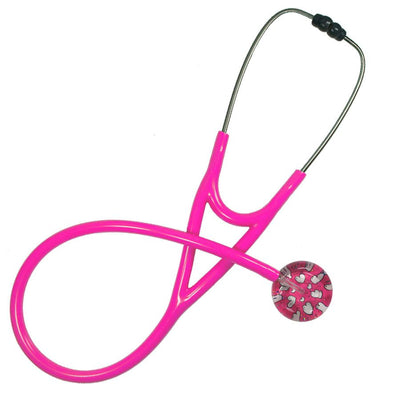 UltraScope Cardiology Stethoscope Hearts and Glitter Hot Pink