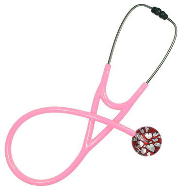 UltraScope Cardiology Stethoscope Hearts and Glitter Red