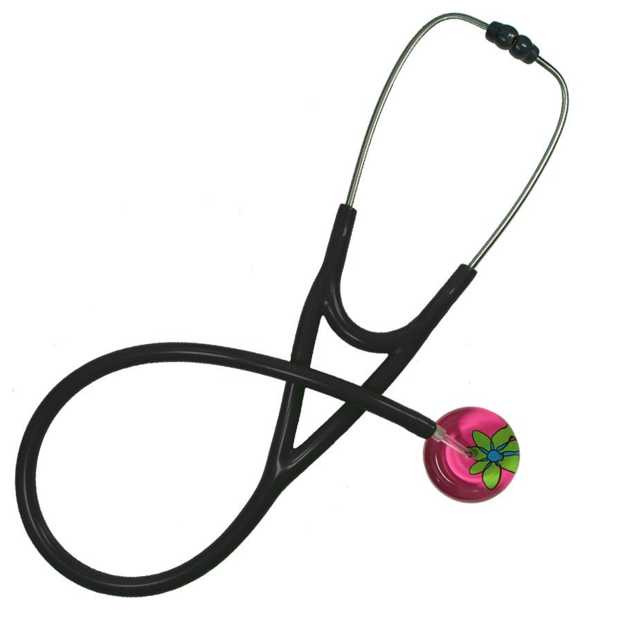 UltraScope Cardiology Stethoscope Abstract Daisy Hot Pink and Light Green