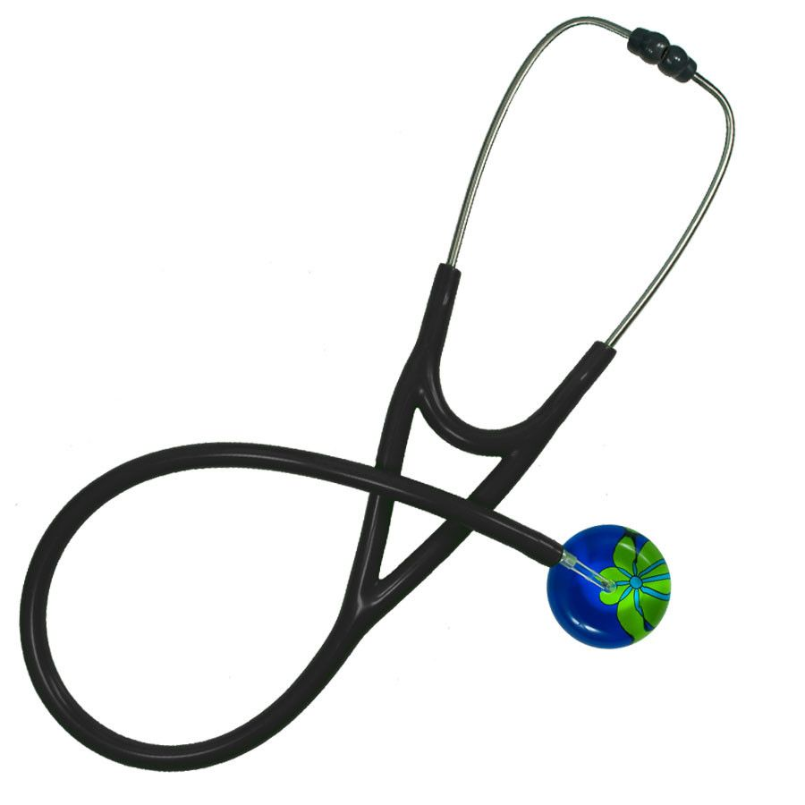 UltraScope Cardiology Stethoscope Abstract Daisy Royal Blue and Light Green
