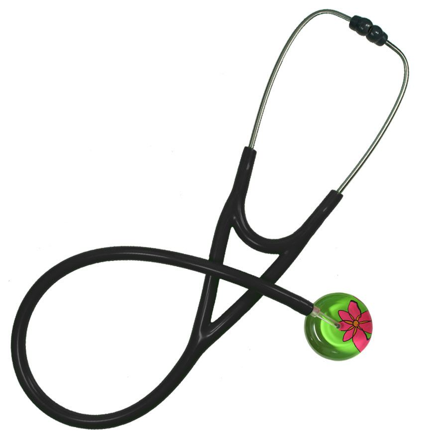 UltraScope Cardiology Stethoscope Abstract Daisy Light Green and Hot Pink