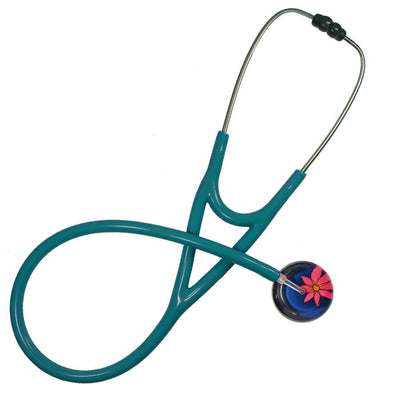 UltraScope Cardiology Stethoscope Abstract Daisy Navy Blue and Hot Pink