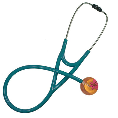 UltraScope Cardiology Stethoscope Abstract Daisy Orange and Hot Pink