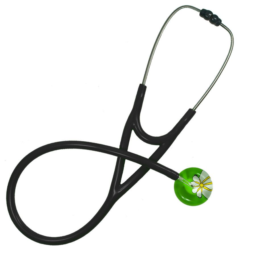 UltraScope Cardiology Stethoscope Abstract Daisy Light Green and White