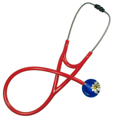 UltraScope Cardiology Stethoscope Abstract Daisy Royal Blue and White