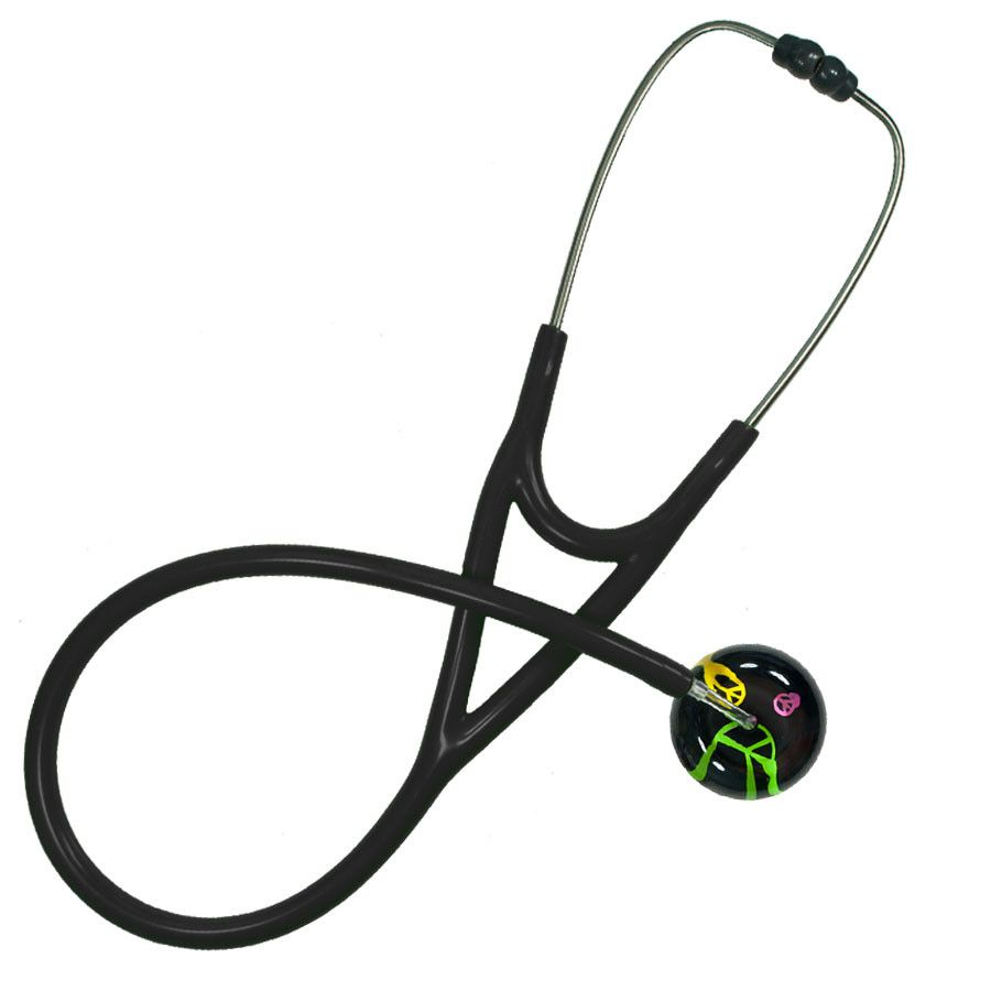 UltraScope Cardiology Stethoscope Peace Signs Black