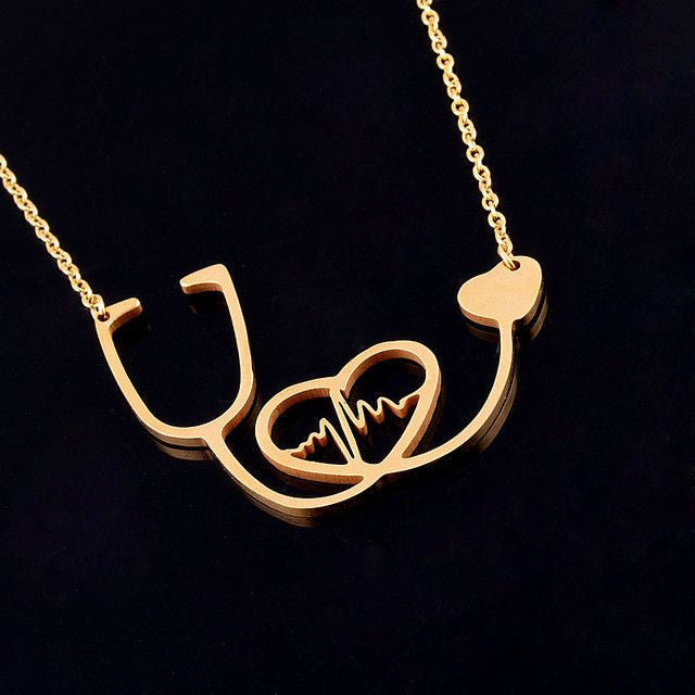 Stethoscope Love Heartbeat Necklace (3 Colors)