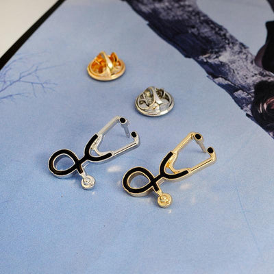 Stethoscope Brooch Pins (Gold & Silver)