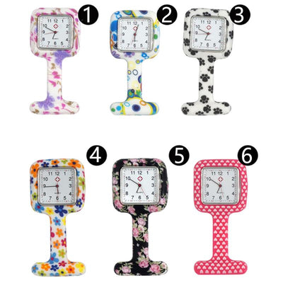Square Clip Silicone Nurse Pocket FOB Watches (6 patterns)