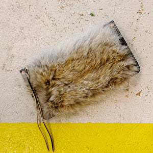 clutch | hand-dyed black + fur
