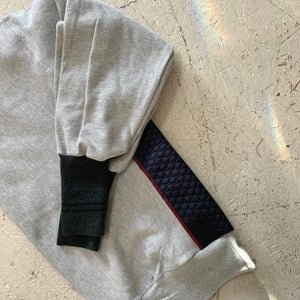 deconstructed sweatshirt | charcoal/navy quilt
