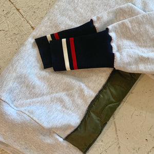 deconstructed sweatshirt | red, white + navy/olive quilt