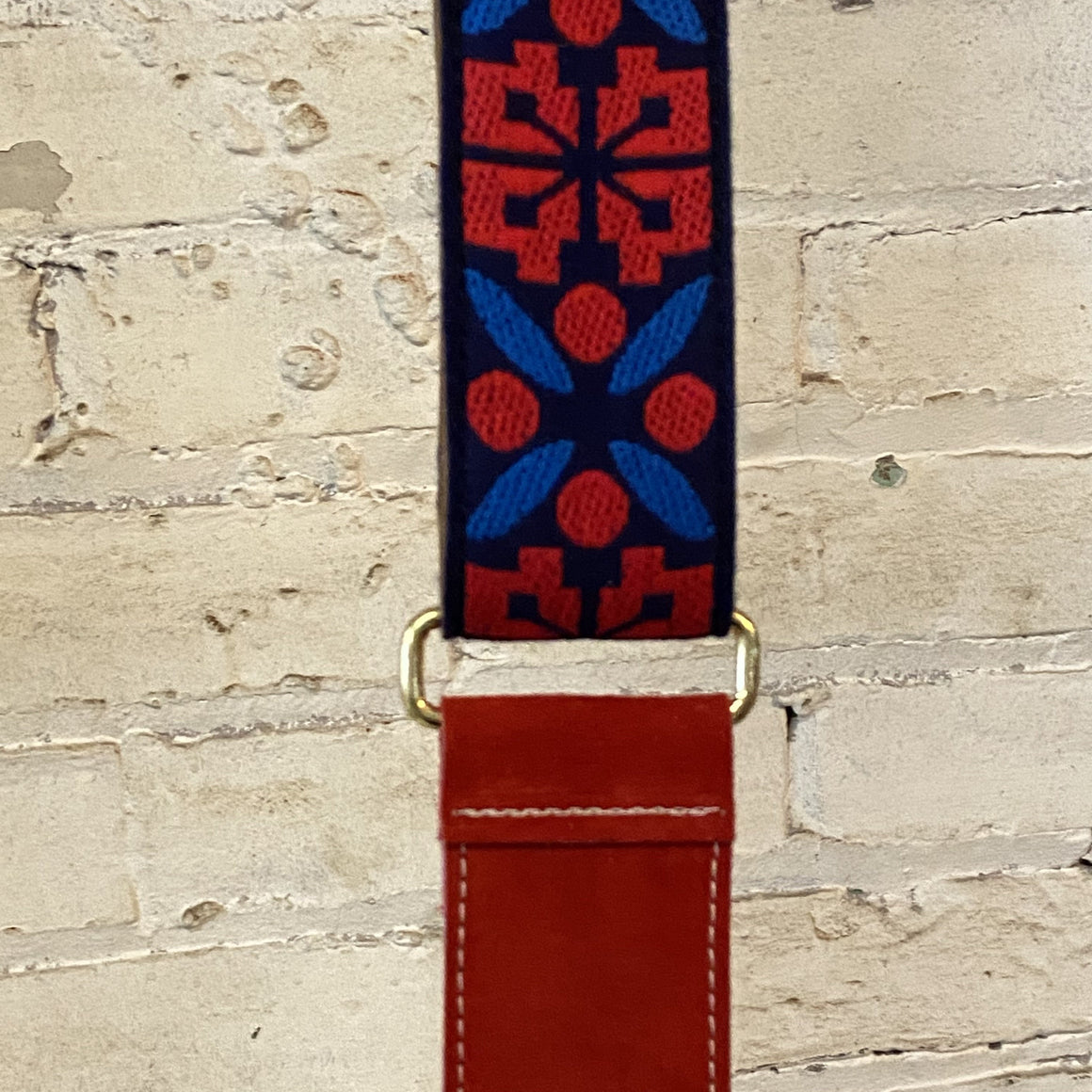 vintage ribbon strap | red/blue + red suede
