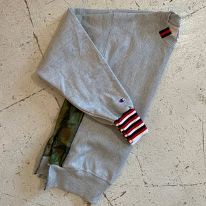 deconstructed sweatshirt | red, white + navy/camo quilt