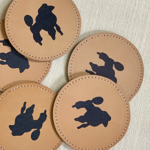 leather coaster | poodle