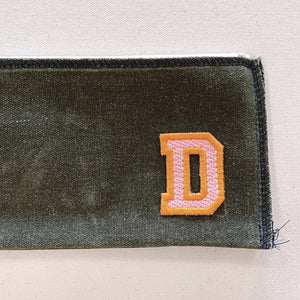 mitchell pouch | olive w/ varsity letter