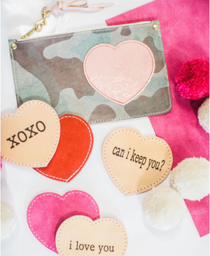 leather clutch | ghost camo w/ heart