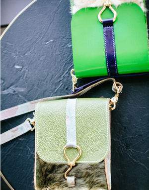 walker crossbody | ghost camo w/ green fur
